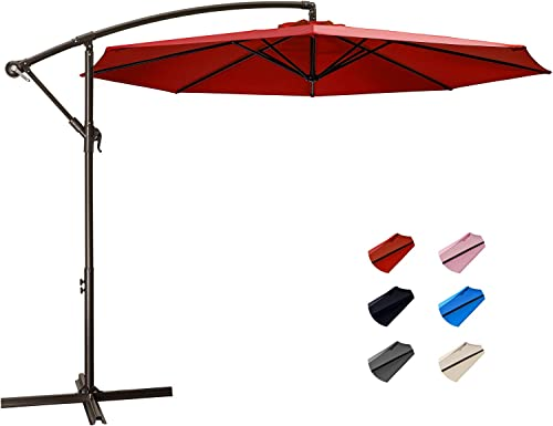 KITADIN Offset Umbrella – 10Ft Cantilever Patio Hanging Umbrella,Outdoor Market Umbrellas with Crank Lift Cross Base 10 Ft, Red