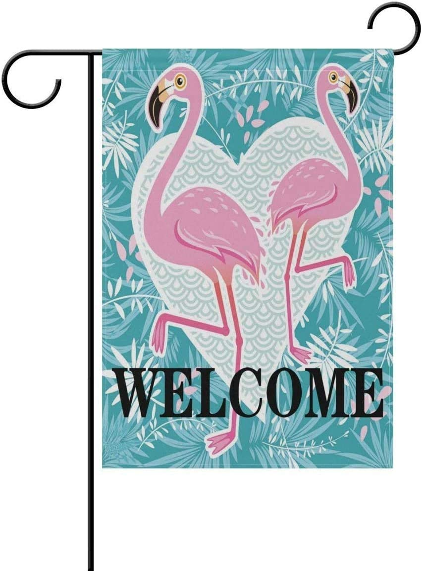 Amazon Com Theshuai Valentine Love Heart Animal Flamingo Welcome Garden Flag 12 X 18 Large Inches Double Sided Outdoor Yard Yall Garden Flag For Wedding Party House Home Decor Garden Outdoor