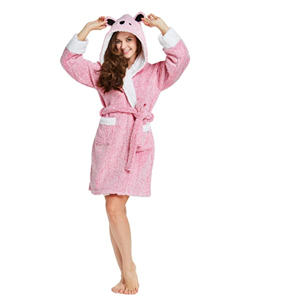 49dafb93aa TIMSOPHIA Robes for Women Bathrobe with Hood SPA Robes Fun Robes for Women  (PINK2