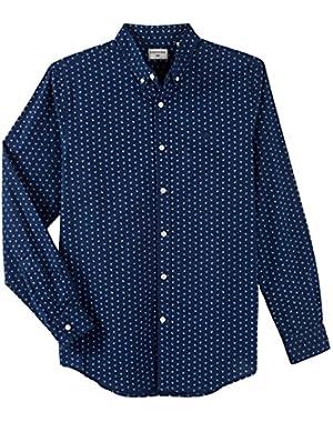 Men's Long Sleeve Anchor Print Button Front Shirt