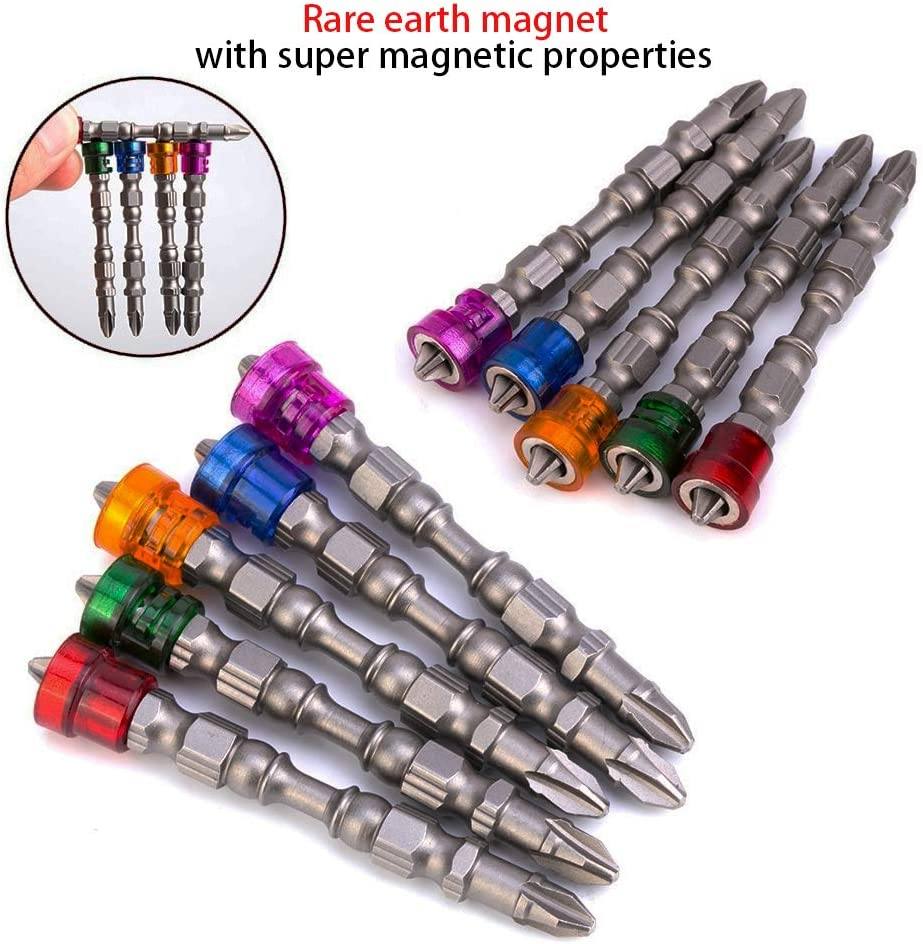 5Pcs 1//4 inch Hex Shank Depth Stop Double Cross Head Screwdriver Bits Strong Magnetic Phillips Screw Depth Stop Screwdriver Bits Set S2 Steel Set Screwdriver Set Hand Tool Muye