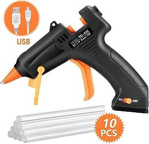 TOPELEK Cordless Hot Glue Gun, Mini Glue Gun Kit with 10Pcs Glue Sticks, USB Charging High Temp Melt Glue Gun for DIY Crafts, Quick Repairs, Decorations, Home, School, Office Arts