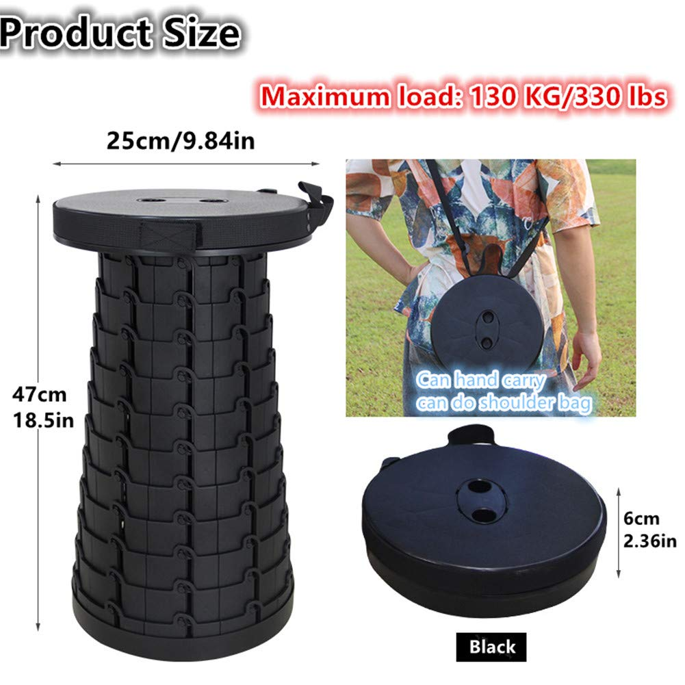 Retractable Folding Stools Portable Plastic Stools Twelve Levels Adjustable Holds Up 330 Pounds, Outdoor Barbecue Travel Camping Fishing Garden Home Folding Stools