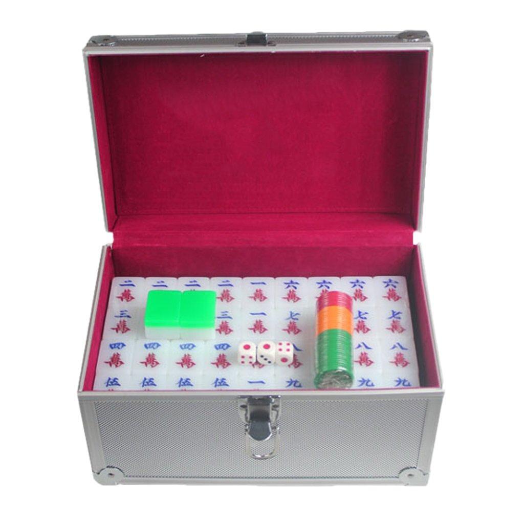 LI JING SHOP - Großes Haus Hand Reiben Kristall Mahjong Acryl Grün Mahjong Kartengröße: 3.8 * 2.9 * 2.2CM (einzeln), 4.0 * 3.1 * 2.3CM (einzeln), 4.1 * 3.2 * 2.3CM (einzeln) 1 Satz von 144 Blättern ( Farbe : Aluminum box , größe : L-4.0*3.1*2.3CM )