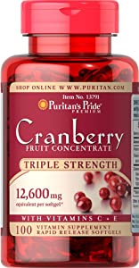 Puritan's Pride Triple Strength Cranberry Fruit Concentrate 12,600 mg-100 Softgels