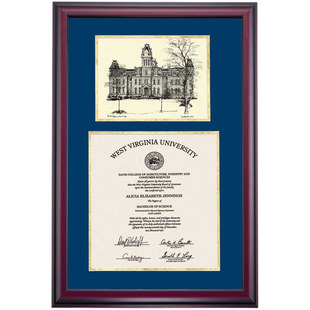 Campus Linens West Virginia WVU Mountaineers Diploma Frame Gold Blue Matting Pen & Ink
