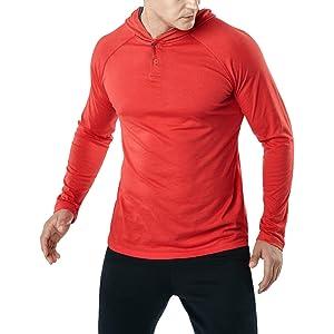 (テスラ)TESLA NEWメンズ ダイナミックコットン フード付き 長袖 Tシャツ [UVカット・吸汗速乾]ドライ スポーツ シャツ MTL56-RED-L