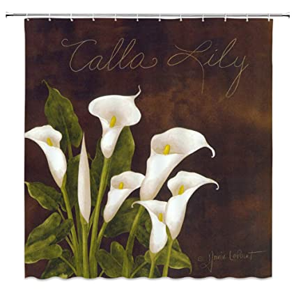 AMNYSF Calla Lily Shower Curtain White Flowers Green Leaves Bridal Bouquet Vintage Oil Painting Decor Fabric