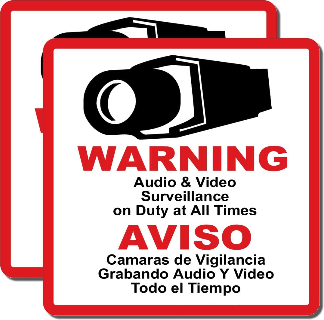 HDView CCTV Security Sign, 2 Packs, Commercial Grade Outdoor Indoor Warning Sign, Heavy Duty, Water Fire Proof, English and Spanish