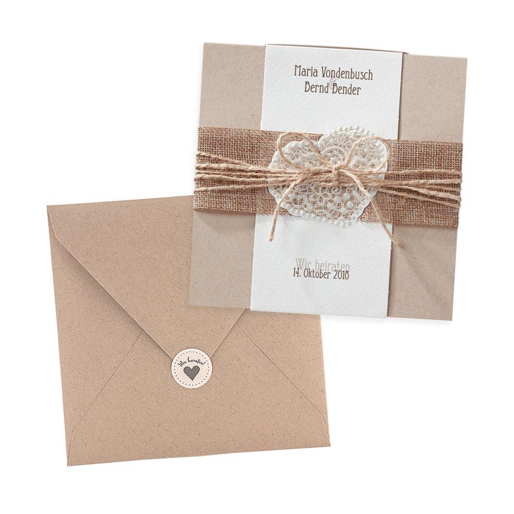 Vintage einladungskarten estelle zur hochzeit 3 stück kraftpapier jute spitze blanko hochzeitseinladung mit umschlag und weddix siegeletikett