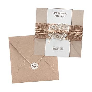 Vintage Einladungskarten Estelle Zur Hochzeit 3 Stuck Kraftpapier