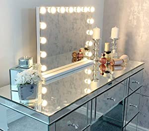 Large Vanity Makeup Mirror with Lights,Hollywood Lighted Dressing Tabletop Mirror or Wall Mounted Beauty Mirrors with 15 pcs Led Bulbs,Detachable 10X Magnification Spot Cosmetic Mirror Included