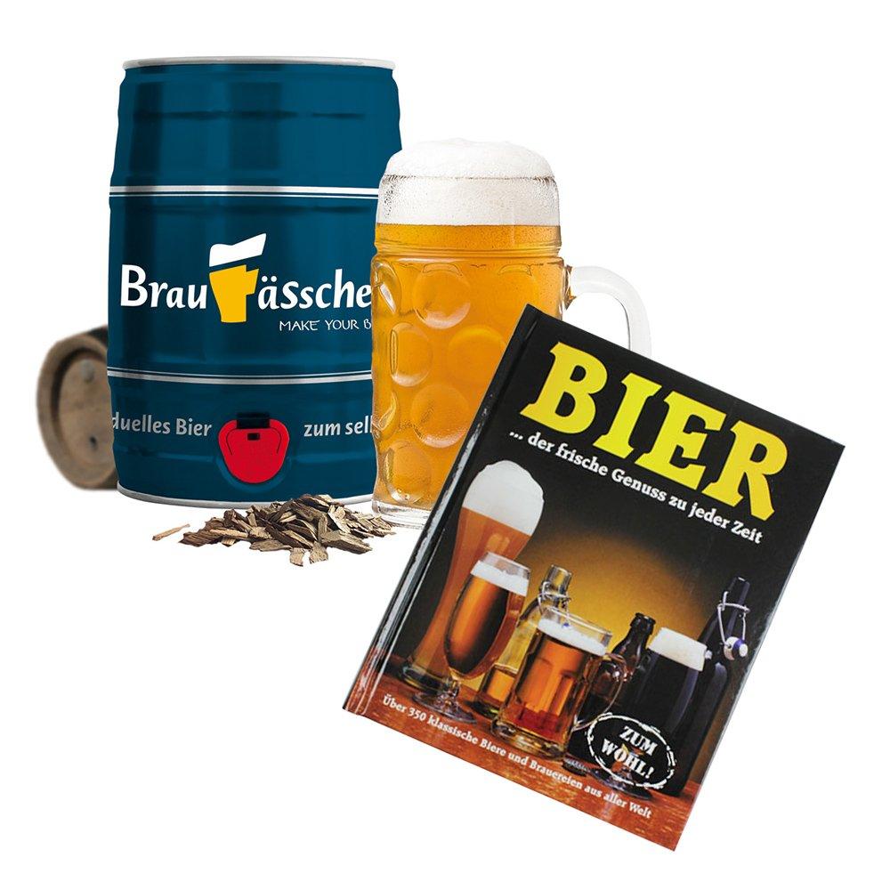 MonsterZeug 2er Geschenkset Männer, Braufässchen & Ultimatives Bierlexikon, Bierbrau Set mit 5 Liter Fass und Bier Buch, Pils Selber brauen, Buch für Biertrinker als Biergeschenk, Bier Geschenke