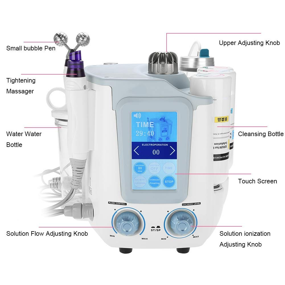 3 in 1 Oxygen Water Skin Care Injection,Hydrogen Oxygen Ultra-Micro Bubble Face Skin Hydro Spa Machine Facial Moisturizing Pores Cleansing Wrinkle Remover Skin Rejuvenation Device Salon Use Machine