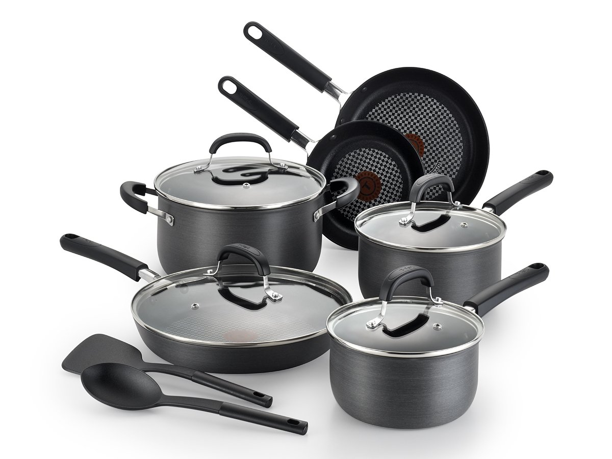 T-fal C547SC54 Opti Cook Anodized 12 Piece Cookware Set, Small, Black