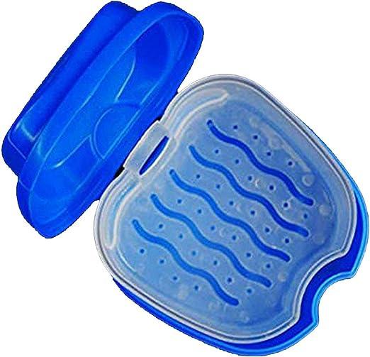 Caja de Almacenamiento de plástico MXECO Conveniente Caja de baño de dentadura Caja de Almacenamiento de Dientes Falsos dentales con contenedor de Red Colgante: Amazon.es: Hogar