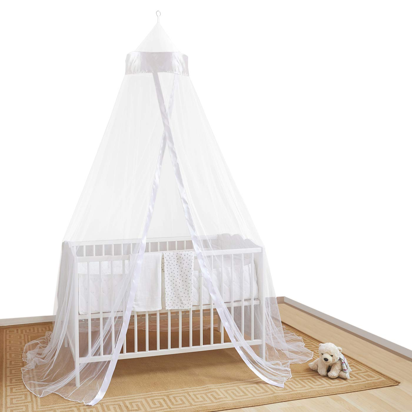 CIEL DE LIT PROTECTEUR POUR LITS ET PANIERS BEBE – Accessoire protectrice pour lits bébé contre insectes, araignées et moustiques. Facile à monter. Mosquito Nets 4 U Ltd Baby-white001