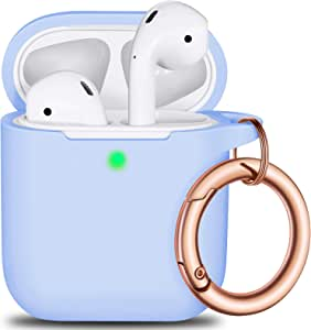 AirPods Case Cover Keychain, Full Protective Silicone AirPods Accessories Skin Cover for Women Girl with Apple AirPods Wireless Charging Case,Front LED Visible-Sky Blue