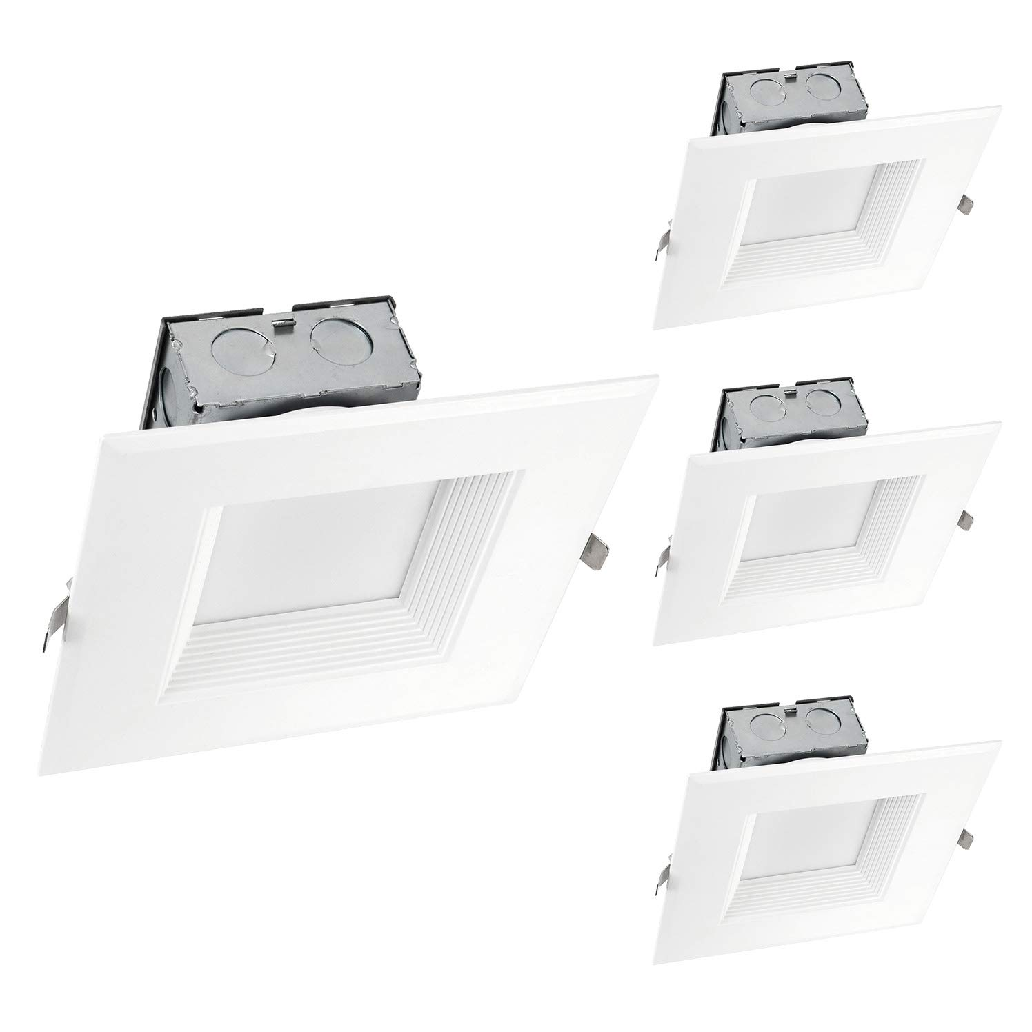 OSTWIN (4 Pack) 6 Inch Square LED Recessed Ceiling Light Fixture, Dimmable, Downlighter Junction Box, IC Rated, 15W (120 Watt Replacement) 3000K, 1000Lm, No Can Needed, ETL and Energy Star Listed