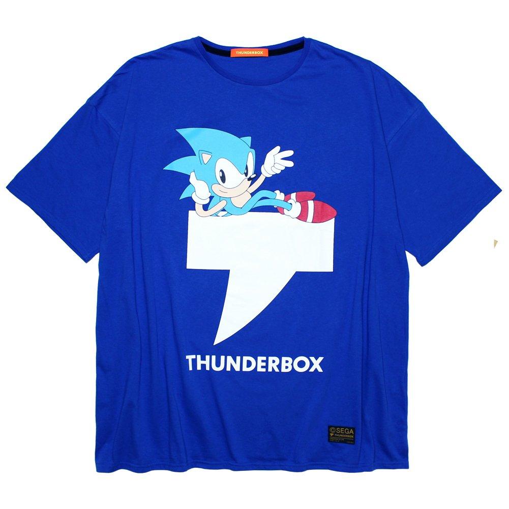 THUNDERBOX × SONIC THE HEDGEHOG T-MARK BIG TEE | BLUE ブルー サンダーボックス ビッグ Tシャツ オーバーサイズ 半袖 ソニック コラボ (FREE)
