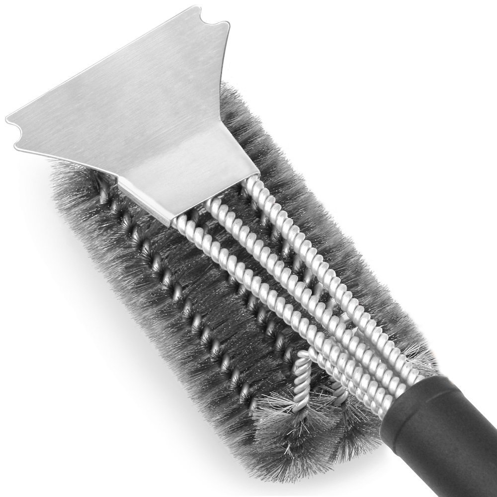 Grill Brush and Scraper - LETMY Best BBQ Brush for Grill, Safe 18 Stainless Steel Woven Wire 3 in 1 Bristles Grill Cleaning Brush for Weber Gas/Charcoal Grill, Gifts for Grill Wizard