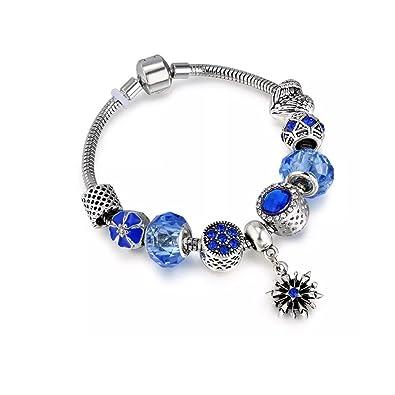 2e061750c Blue Daisy Snowflake Silver Snake Charm Bracelet European Murano Glass  Crystal Beads 20cm fits Pandora Charms: Amazon.co.uk: Jewellery
