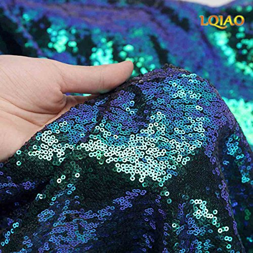 LQIAO W50xH84in Fluorescence Green Sequin Curtain Backdrop Sequin Photo Backdrop Ceremony Background Shimmer Sequin Backdrop Fabric/Curtain For Wedding/Home DIY-one pc, Hook 50x84in(125x220cm)) by LQIAO (Image #3)