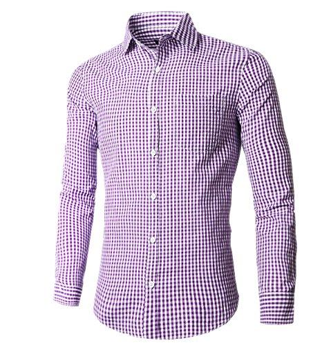 (NUTEXROL Mens Dress Shirts Plaid Cotton Classic Slim Fit Long Sleeve Shirts Purple)