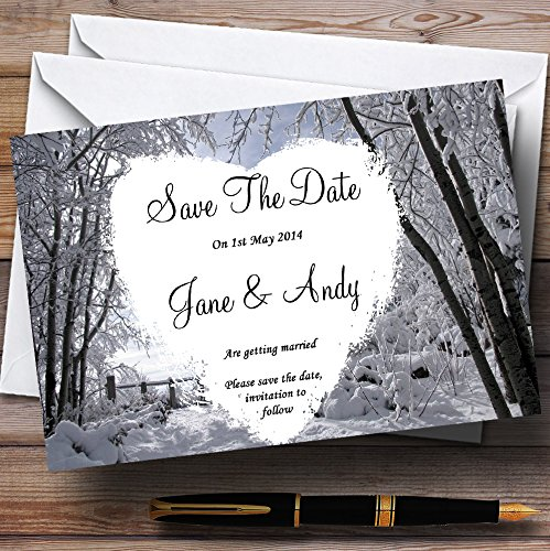Winter Snow Scene Personalized Wedding Save The Date Cards