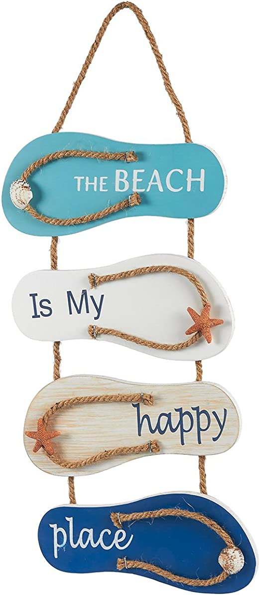 Juvale Nautical Beach Flip Flop Wall Ornament, Wooden Slippers Hanging  Decoration, Ocean Home Decor for Wall and Door, 8.8 x 8.8 x 8 Inches