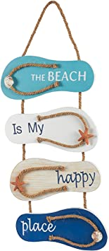 Amazon Com Juvale Nautical Beach Flip Flop Wall Ornament Wooden Slippers Hanging Decoration Ocean Home Decor For Wall And Door 8 75 X 3 75 X 3 Inches Furniture Decor