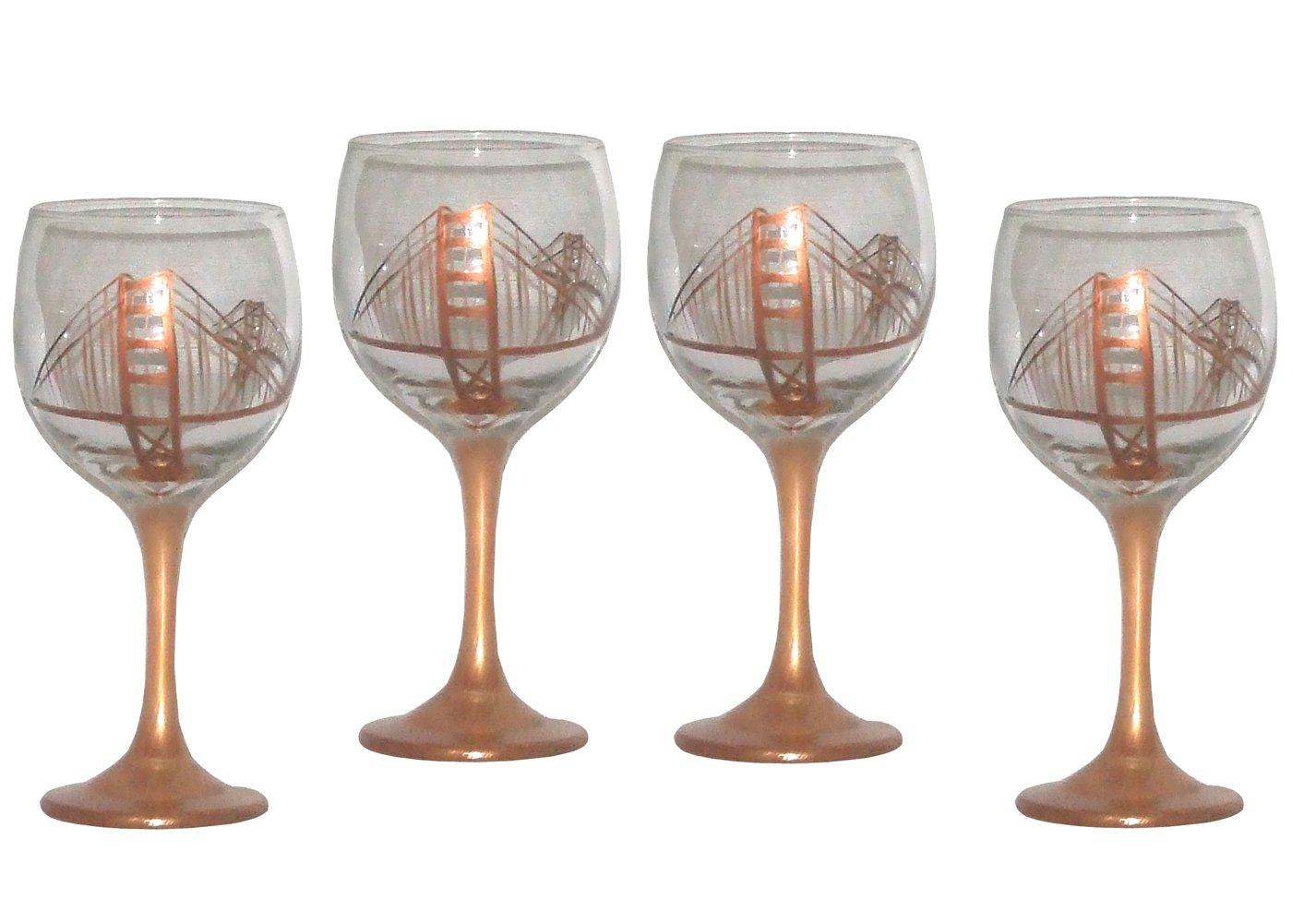 ArtisanStreet's San Francisco Hand Painted Wine Glasses - Set of 4