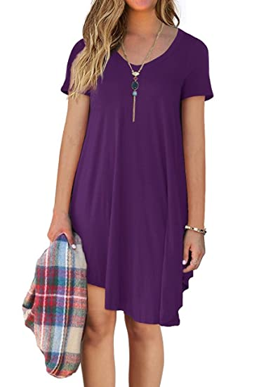 595860ff8d28 DEARCASE Women s Short Sleeve Casual Loose T-Shirt Tunic Dress at ...