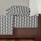 Roostery Clubs 3pc Sheet Set Clover's Clubs In Black And White by Siya Twin Sheet Set made with