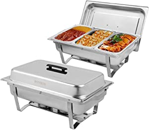 ROVSUN 2 Packs Stainless Steel Chafing Dishes with 3 1/3 Size Food Pans, Foldable Frame, 8 Quart Rectangular Catering Chafer Set