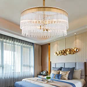 JIAJIA Gold Modern Luxury Double Layer Crystal Glass Bending Round Crystal Chandelier Dining Living Bedroom Ceiling Light Source 6 60x60x45cm Creative