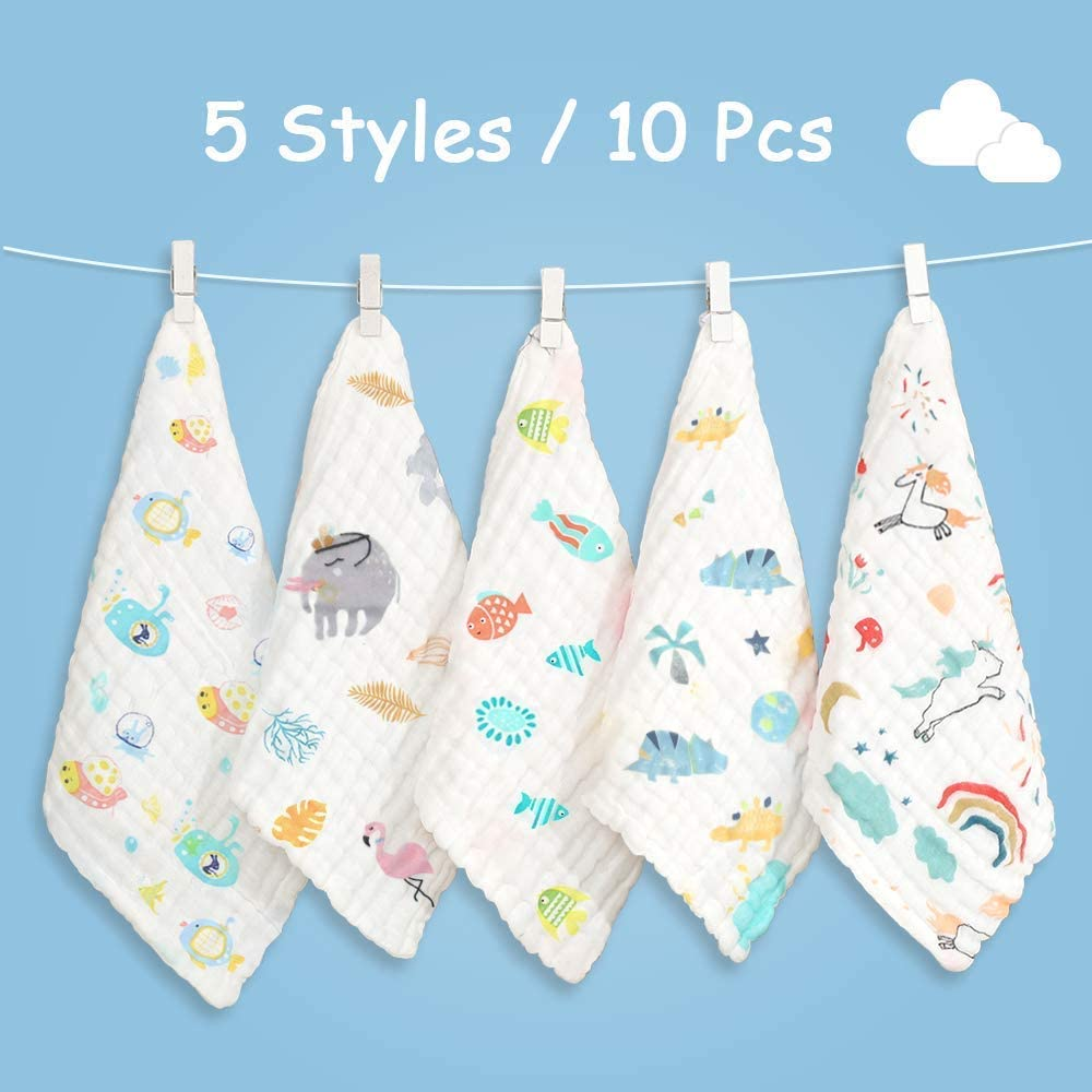 30x30cm Bamboo Cotton Baby Muslin Washcloth Face Towels for Newborn with Sensitive Skin Caiery 10pcs Baby Washcloths Soft Shower Gift for Baby Registry 12x 12 inch