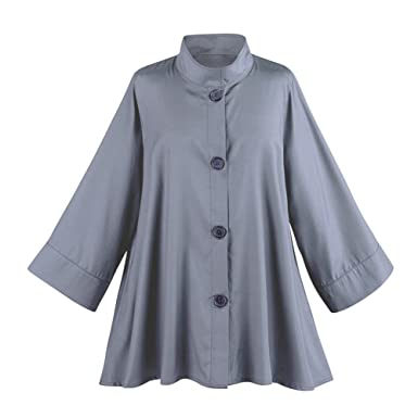 cde204e5500c Breeke   Company Women s Iridescent Fashion Swing Jacket - Button Down -  Silver - XXL