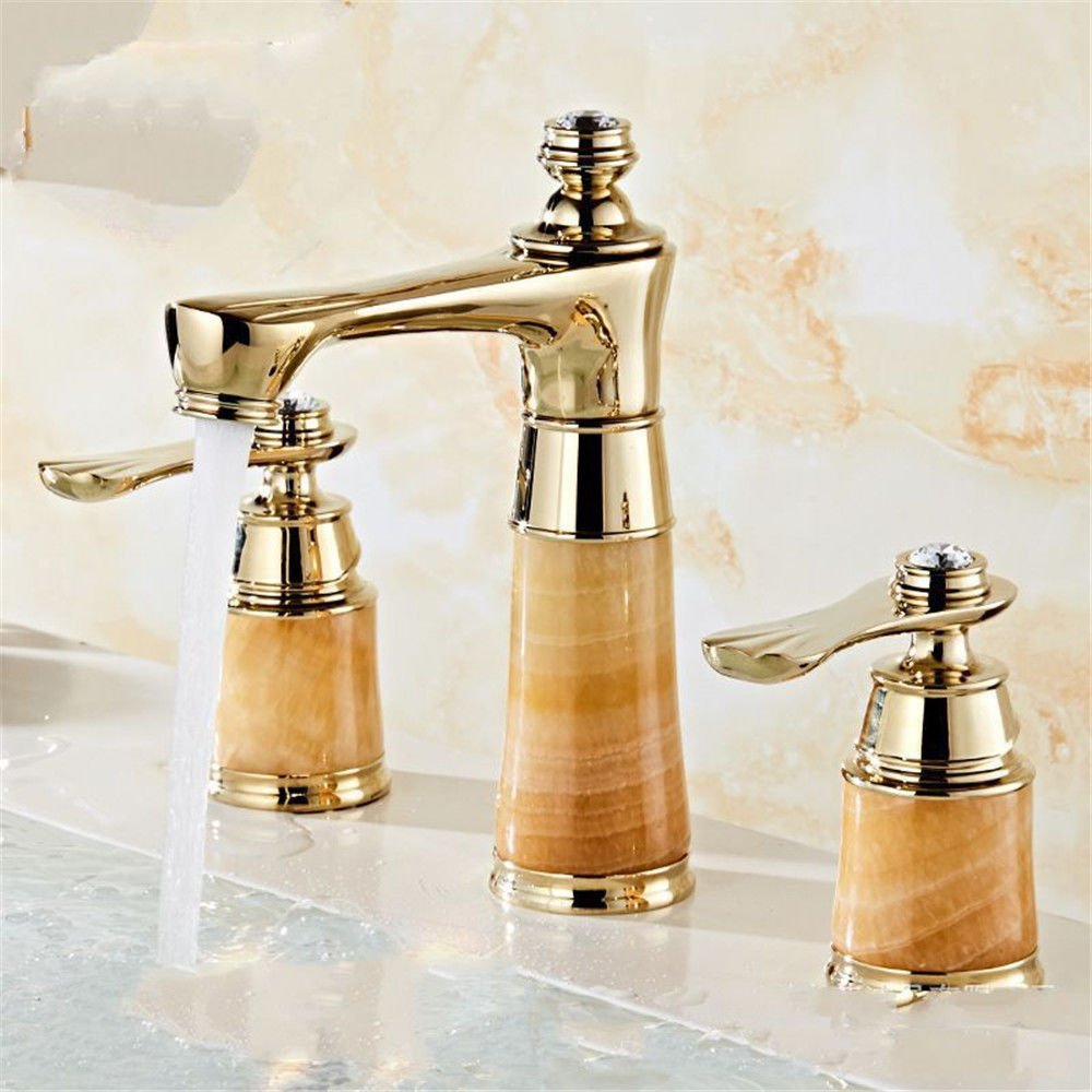 C LHbox Basin Mixer Tap Bathroom Sink Faucet The copper basin faucet hot and cold continental jade Bathroom Cabinet washbasin three-piece faucet, B