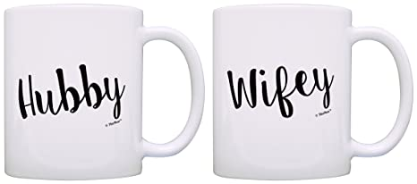 Bridal Shower Gifts Hubby Wifey Wedding Gift Ideas 2 Pack Gift Coffee Mugs Tea Cups White