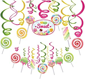 Kristin Paradise 30Ct Candy Land Hanging Swirl Decorations, Candyland Party Supplies, Lollipop Birthday Theme, Candy Shop Kids Paper Decor for First 1st Boy Girl Baby Shower, Sweet Shop Favors