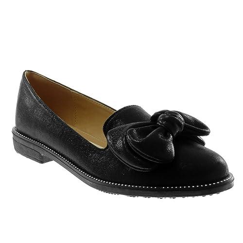Angkorly Zapatillas Moda Mocasines Slip-On Mujer Pajarita Tachonado Brillantes Tacón Ancho 2.5 cm: Amazon.es: Zapatos y complementos