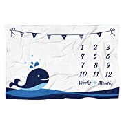 Baby Monthly Milestone Blanket with 12 Stickers, Large 60 x40  Infant Month Blankets Boy | Newborn Photography Background Blanket Prop | Nautical Whale Blanket, Best Baby Shower Gift for New Mom