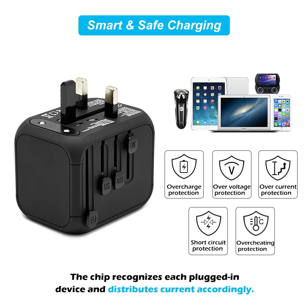 Universal International Travel Adapter with Auto-Reset Fuse, Whew All-in-One Worldwide Power Adapter Travel Plug Adapter, 5A USB Output, 1 Type C, 3 USB for US, UK, EU, AU, 170+ Countries (Black) by Whew (Image #4)