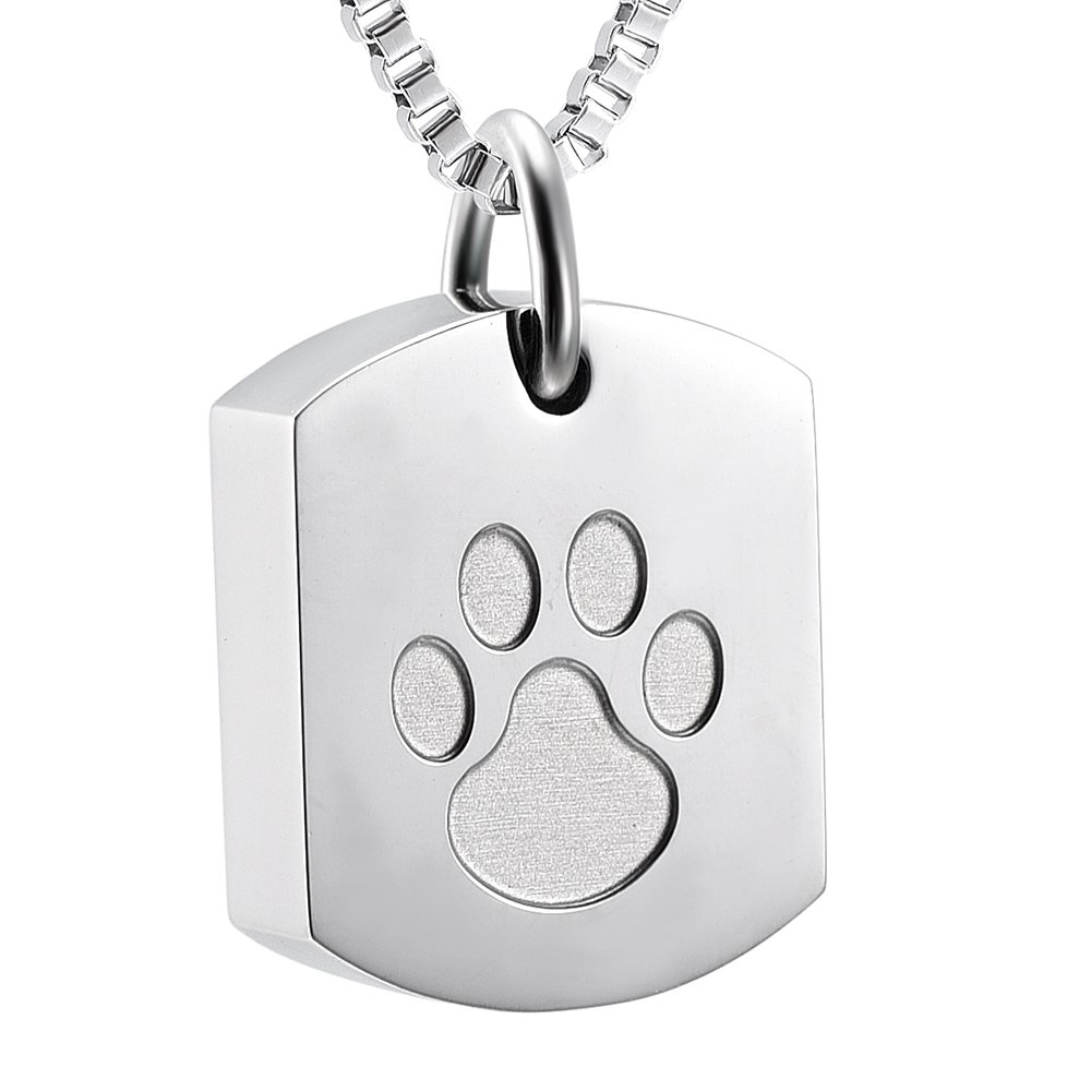 Fantasyland Jewelry Dog Tag Cremation Urn Necklace Memorial Keepsake Ashes Urn Penant With Lovely Pet Paw Print