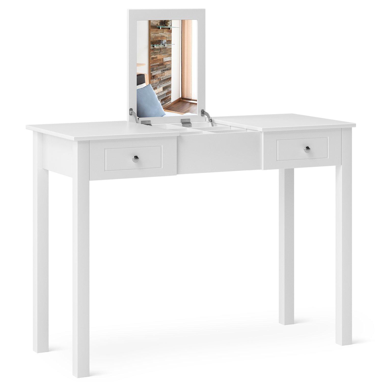 Homfa white dressing table makeup desk foldaway mirror storage drawer 6 hidden divider 111 48 81 5cm amazon co uk kitchen home