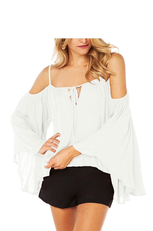 SYGoodBUY Blusas para Mujer Chiffon Off Shoulder Camisas Informales Tops Camiseta Manga Larga Wide Sleeve Summer Tops (Color : Blanco, ...