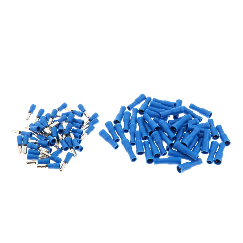 100pcs Wire Terminal Kit Spade Butt Ring Electrical Connector Splice Blue