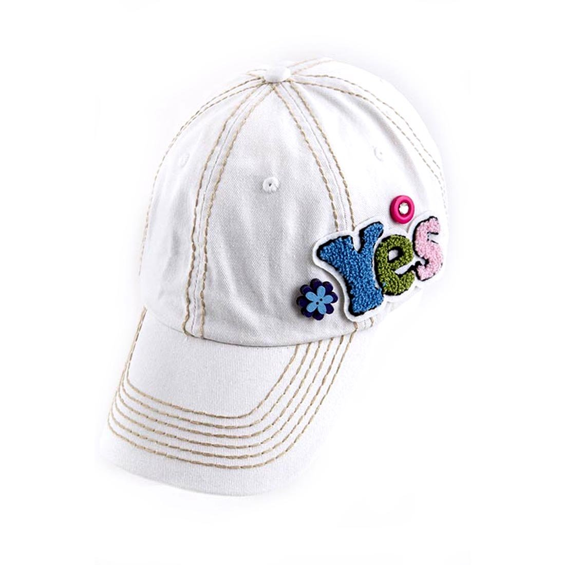 Washed White Denim Baseball Cap Hat w Fuzzy YES Accent   Thick Tan  Stitching at Amazon Women s Clothing store  b84d9105cdf