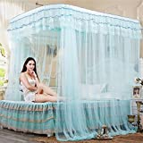 CUSHIONLIU Guide Rail Expansion Mosquito Nets Single Door Princess Wind Floor Style Water green 1.8m (6'') bed